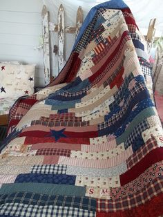 patriotic quilt with free pattern                                                                                                                                                                                 More Quilt Of Valor, Scrappy Quilts, Jellyroll Quilts, Blue Quilts, Strip Quilt Patterns, Quilting Patterns, Strip Quilts, Quilting Designs, Quilting Ideas
