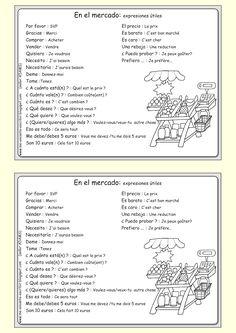 Me encanta escribir en español: Vocabulario y expresiones útiles para hacer las compras en un mercado. (ficha para los alumnos)