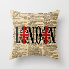 Throw Pillow Cover Dictionary Art Union Jack London on a Vintage Dictionary Page Home Décor by CARTISIM on Etsy, $39.08 AUD