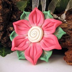 Flower Pendant Polymer Clay Pink Green Pearl by KaelMiJoy