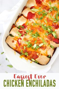 This Easy Chicken Enchilada recipe is a delicious and tasty midweek dinner. This recipe uses shredded chicken, lots of vegetables to keep it healthy and a tomato based sauce, all rolled in your favourite wraps and topped with cheese. It's also super easy Healthy Chicken Recipes, Mexican Food Recipes, Recipe Chicken, Diet Recipes, Slimming World Recipes Syn Free, Slimming World Dinners, Slimming World Chicken Recipes, Enchiladas Healthy, Shredded Chicken Enchiladas