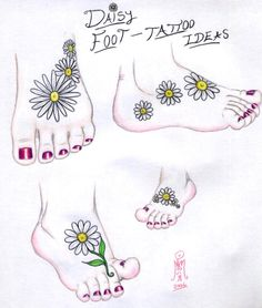 - Daisy Foot Tattoo Ideas by ~LimeGreenSquid on deviantART, sunflowers instead. Daisy Foot Tattoo Ideas by ~LimeGreenSquid on deviantART, sunflowers instead. Ankle Tattoos For Women, Tattoos For Women Flowers, Tattoos For Women Small, Small Tattoos, Trendy Tattoos, Cute Tattoos, Tatoos, Tattoos Pics, Sunflower Foot Tattoos
