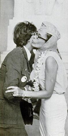 Josephine Baker and Lena Horne embrace at the March on Washington, 1963.