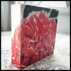 Valentine's Green Gift Vintage Pink Flower by ShabadabaChic, $30.00