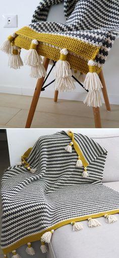Striped Crochet Blanket, Crochet Quilt, Easy Crochet, Crochet Afgans, Afghan Crochet Patterns, Cute Crochet, Beautiful Crochet, Crochet Hooks, Crochet Baby