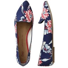 Gap Printed Pointy Flats - navy floral (37 CAD) ❤ liked on Polyvore featuring shoes, flats, обувь, zapatos, women, floral flats, pointed toe shoes, pointed flats, navy blue shoes and pointy flats