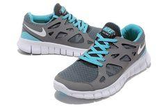 Nike Free Run 2 Mens Running Shoe Cool Grey White Tide Pool Blue