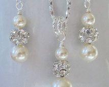 Ivory Bridesmaid Jewelry Set, Cream Pearl Necklace & Earrings Set,Bridal Set,Swarovski Ivory Pearls,Bridesmaid Earrings And Necklace Set
