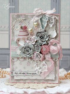 card flowers and cake - looks like tilda paper design - #tildacard - From Tanya Bjorn in Novosibirsk, RUSSIA.