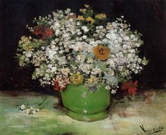 Vincent van Gogh- Vase with Zinnias and Other Flowers