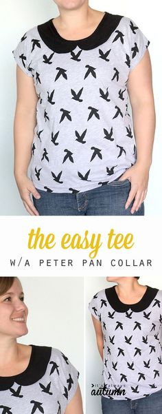 pattern for easy women's t-shirt (tee) sewing tutorial Free sewing pattern and tutorial for this easy to sew women's tee with a cute peter pan collar.Free sewing pattern and tutorial for this easy to sew women's tee with a cute peter pan collar. Sewing Patterns Free, Free Sewing, Clothing Patterns, Free Pattern, Pattern Sewing, Shirt Patterns, Dress Patterns, Knitting Patterns, Golas Peter Pan
