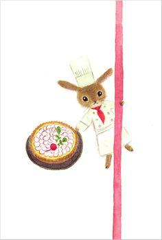 "postcard ""radish tart"" from""LINNET"",Japanese design cotton fabrics."