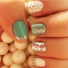 Glitter and mint green sparkle nails