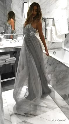 SILVER WHIMSICAL PRINCESS DRESS BY STUDIO MINC #FORMAL #PROM #DRESS #SILVER