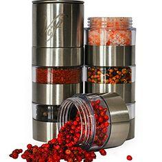 Spice Grinder Stainless Steel- 6 Jar Salt and Pepper Shaker Set - Adjustable Ceramic Grinder for Salt Pepper, Peppercorn, Cloves and More - Clear, Acrylic Body - Easy Fill Design Vif http://www.amazon.com/dp/B010RSEIRK/ref=cm_sw_r_pi_dp_Ujoexb14EYZCP