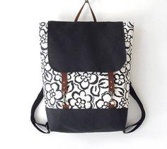 Navy blossom Backpack laptop bag school bag diaper by BagyBags