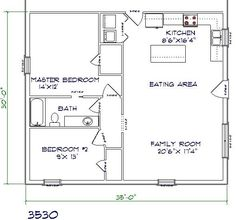 barndominium floor plan 2 bedroom 1 bathroom 35x30