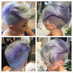 Gorgeous short cut with clippered sides by @dillahajhair Beautiful purple lavender hair color by @katiezimbalisalon #hotonbeauty