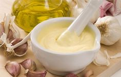 "All I Oli-Meaning ""garlic and oil"", is a garlic mayonnaise that makes a great dip for Patatas, Calamari or to serve with dishes like Fideuà. All i oli is the Catalan spelling of this traditionally Catalan sauce Lower Cholesterol Naturally, Cholesterol Lowering Foods, Cholesterol Symptoms, Cholesterol Levels, Garlic Aioli Recipe, Garlic Sauce, Cooking Recipes, Healthy Recipes, Cooking Light"