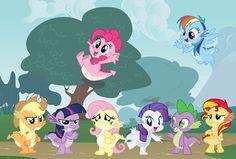 Applejack twilight pinkie pie fluttershy rarity spike rainbow dash and sunset shimmer. My little Dragons My Little Pony Poster, My Little Pony Baby, My Little Pony Drawing, My Little Pony Friendship, Manado, Feathered Dragon, Celestia And Luna, Mlp Fan Art, Imagenes My Little Pony