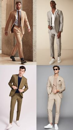 6 Easy Ways To Wear Neutrals Blazer Outfits Men, Mens Fashion Blazer, Mens Blazer Styles, Business Dress, Beige Suits, Moda Formal, Formal Men Outfit, Trendy Mens Fashion, Designer Suits For Men