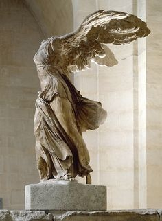 Winged Victory (Nike) of Samothrace, Greek statue (marble), 2nd century BC (Musée du Louvre, Paris). My youngest daughter is named after this goddess.