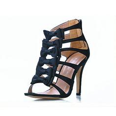 Satin Stiletto Heel Sandals With Bows