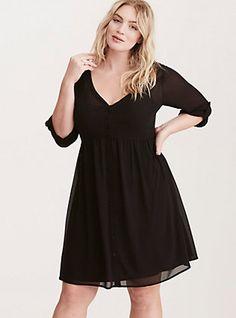 Chiffon Shirt Dress, DEEP BLACK