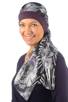 Sienna  Jersey Cotton Hat with Chiffon Scarf for Cancer