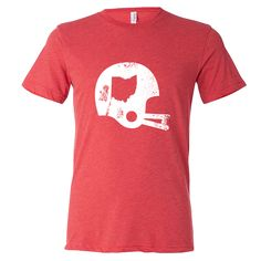 Show off your state pride in this Ohio State Football T-Shirt! This tri-blend tee features a screen print of a vintage football helmet distressed graphic with the Ohio state shape. Make sure everyone