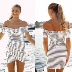 Cool! Fashion Stripe Strapless Short Sleeve Dress just $23.99 from ByGoods.com! I can't wait to get it!