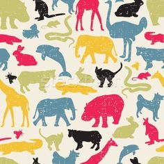 Animals silhouette seamless pattern. - illustrazione vettoriale di Ekaterina Panova (ekapanova) - Stockfresh #1148866