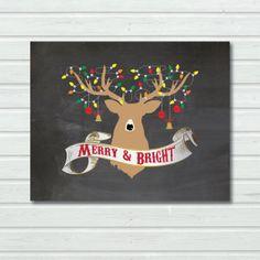 INSTANT DOWNLOAD. Printable Art Digital File. Chalkboard Christmas Deer, Reindeer, Atler silhouette Poster. Holiday Home Decor