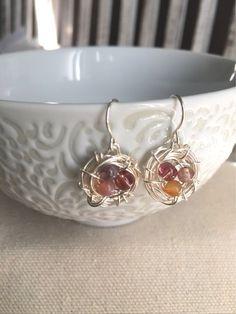 Mini Bird Nest Earrings Purple Jasper Mix Silver by LaniMakana
