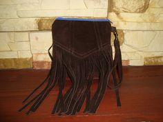 recycled leather handbag/ suede clutch/ dark chocolate by BagsBand