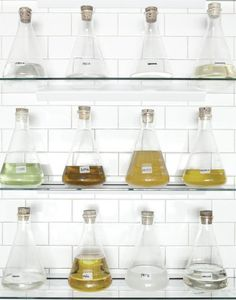 This Look: Papabubble-Inspired Kitchen What a great solution for a bar. No more ugly mismatched liquor bottlesWhat a great solution for a bar. No more ugly mismatched liquor bottles Boutique Bio, Glass Flask, Liquor Bottles, Confectionery, Chemistry, Kitchen Dining, Dining Room, Sweet Home, Cool Stuff