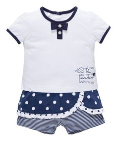 Another great find on #zulily! Medium Blue & White Polka Dot Tee & Skort - Infant #zulilyfinds