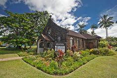 One of Kauai's beautiful churches nestled in some tropical setting