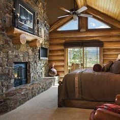 lodge cabin log cabin themed bedroom decorating ideas - moose ...