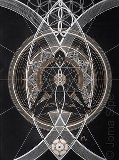 Visionary Artist Joma Sipe's new collection entitled 'Theosophia Geometrica' explores eastern mysticism, kabbalah, magick and sacred. Sacred Geometry Meanings, Sacred Geometry Tattoo, Mandala Nature, Image Mandala, Chakra Art, Chakra Symbols, Occult Art, Visionary Art, Pentacle