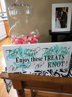 Reception Sign with Damask, Wedding Sign.  We Tied the Knot, Treats Table Sign, Candy Bar, Cookie Bar, Dessert Table, Decoration. 8x16 inch. via Etsy