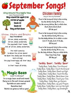 September songs and finger plays! This resource can be used for circle time in a daycare, preschool, Kindergarten Songs, Preschool Music, Preschool Lesson Plans, Preschool Classroom, Preschool Learning, Preschool Activities, Music Activities, Teaching, Songs For Toddlers