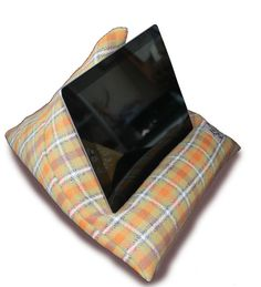 IPAD TABLET PILLOW Wool Yellow Grey Orange Plaid by TechPerch