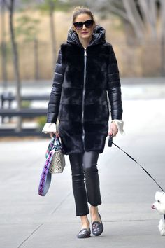 OLIVIA PALERMO Out with Her Dog in New York 01/19/2017