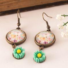 Flower Earrings Butterfly Earrings Shabby Chic Earrings by dauz