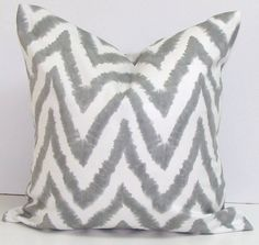 Gray.Pillow.Chevron.18X18 inch.Decorator Pillow Covers.Printed Fabric Front and Back.Housewares.Home Decor.Cushions.cm. $17.00, via Etsy.