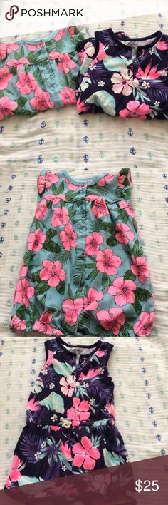 Rompers Hawaiian flowers on them One Pieces Bodysuits