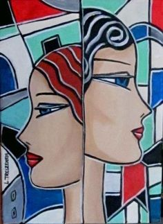 Laurence TREIZENEM - TETE A TETE Funny Drawings, Cool Art Drawings, Art And Illustration, Abstract Face Art, Cubism Art, Art Optical, Art Deco Posters, Painting Of Girl, Art Journal Pages