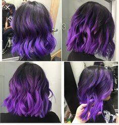 Bright Hair Colors, Hair Color Purple, Cool Hair Color, Brown Hair Colors, Bright Purple Hair, Purple Hair Highlights, Purple Wig, Hair Colours, Brown Ombre Hair