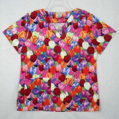Cottonality Scrubs Uniform Medical Top Sz S 100% Cotton Tulip Floral Womens